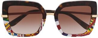Dolce & Gabbana Eyewear Half Rim Mosaic Oversized Sunglasses