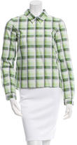 Miu Miu Plaid Button-Up Top