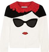 Alice + Olivia Stace Face Frida Intarsia Cotton Cardigan - Cream