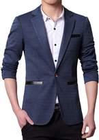 Pishon Men's Casual Blazer Jacket Lightweight Cotton Slim Fit One Button Sport Coat