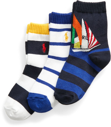 Thumbnail for your product : Ralph Lauren Yacht Crew Sock 3-Pack
