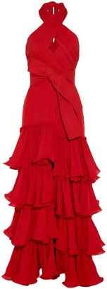 Johanna Ortiz Cartagena Crossover Tiered Silk-crepe Halterneck Gown