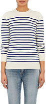 Saint Laurent Women's Striped Cashmere Distressed Sweater