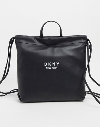 DKNY drawstring backpack in black