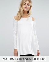 Bluebelle Maternity Cut Out Shoulder Long Sleeve Jersey Top