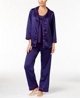 Oscar de la Renta 3 Piece Satin Tank, Button Front Shirt and Pants Pajama Set