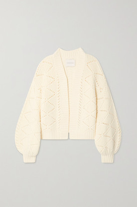 KING & TUCKFIELD Pointelle-knit Merino Wool Cardigan - Cream