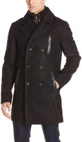 Soia & Kyo SoiaKyo Men's Wallace Double Breasted Removable Inner Bib Wool Coat