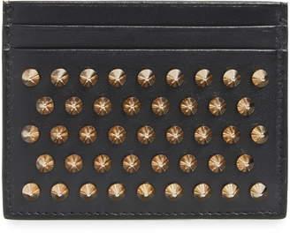 Christian Louboutin Kios Spiked Calfskin Leather Card Case