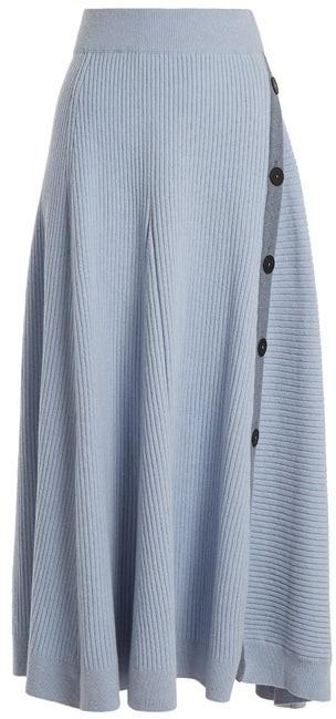 Roksanda Kaori Buttoned A Line Skirt - Womens - Light Blue