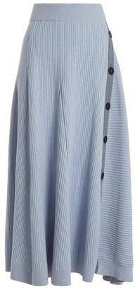 Roksanda Kaori Buttoned A-line Skirt - Womens - Light Blue