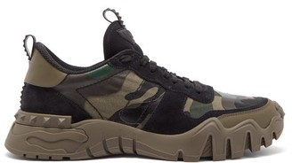 Valentino Rockrunner Plus Camouflage-print Canvas Trainers - Green Multi