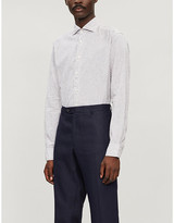 Eton Striped slim-fit cotton and linen-blend shirt