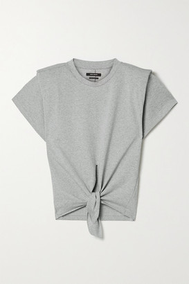Isabel Marant Belita Tie-front Cotton T-shirt - Gray