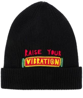 La DoubleJ Vibration embroidered slogan beanie
