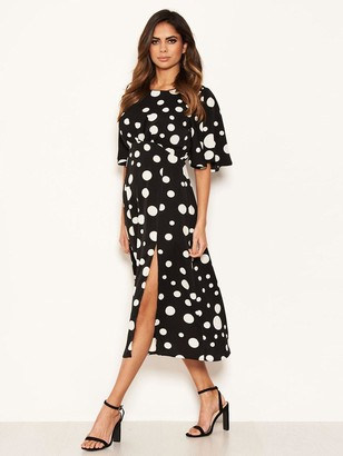 AX Paris Polka Dot Midi Dress - Black