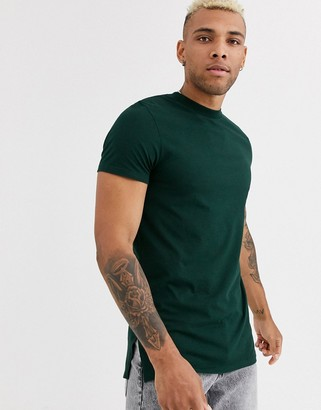 ASOS DESIGN longline t-shirt with crew neck and side splits in green