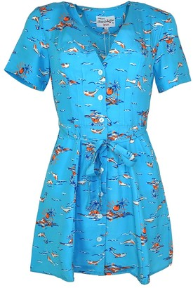 HVN Mini Rosemary Dolphin Print Silk Dress