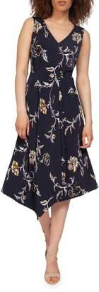 Dex Sleeveless Floral Print Asymmetric Hem Dress