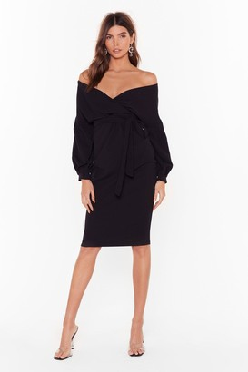 Nasty Gal Womens Wrap to Attention Balloon Sleeve Midi Dress - black - 6