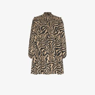 Ganni Flared zebra print dress