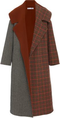 Oscar de la Renta Color-Blocked Wool-Cashmere Coat