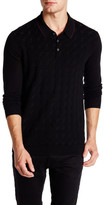 Ted Baker Wool Blend Geo Jacquard Long Sleeve Polo