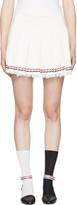 Thom Browne White Selvedge Tweed Pleated Miniskirt