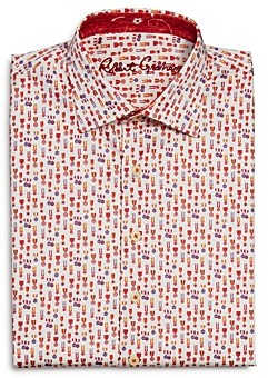 Robert Graham Boys' Maxcy Cotton-Blend Printed Dress Shirt - Big Kid