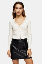 Topshop PETITE Ecru Long Sleeve Ribbed Lace Trim Cardigan