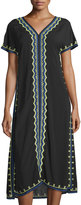 Neiman Marcus Embroidered Short-Sleeve Midi Dress, Black/Multi