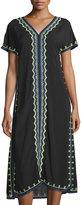Neiman Marcus Embroidered Short-Sleeve Midi Dress, Black/Multi