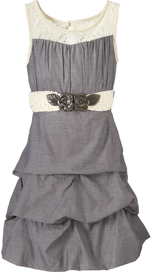 Sequin Hearts Girls Dress, Girls Chambray Belted Pick-Up Dress
