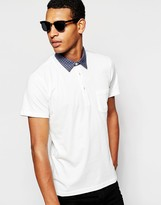 Peter Werth Polo Shirt With Check Collar - White