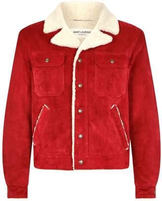 Saint Laurent Suede Shearling Jacket