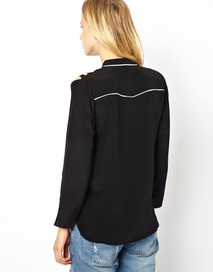 Aryn K Silk Shirt with Cut-out Shoulders and Zip Front