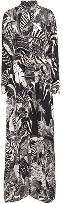 Just Cavalli Belted Printed Crepe Maxi Dress