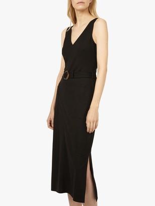 Warehouse Pique Buckle Midi Dress, Black