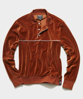 Todd Snyder Velour Piped Polo in Spice