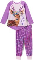 Komar Kids Purple 'Oh Deer Me' Pajama Set - Girls