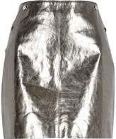 River Island Womens Silver metallic leather mini skirt