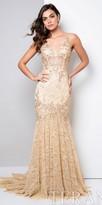 Terani Couture Classic Rhinestone Embellished Lace Evening Dress