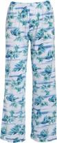 Fresh Produce Women's Capris WHT - Blue & White Floral Chasing Tropics Cotton Capri Pants - Women