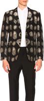Alexander McQueen Feather Jacquard 2 Button Blazer in Abstract,Black.