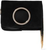 Halston Chain-embellished suede clutch