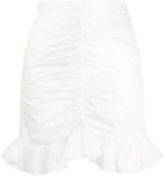 Giamba Ruffle-Hem Ruched Mini Skirt