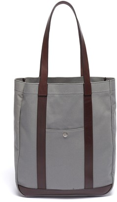 Trunk 'Open' leather trim canvas tote