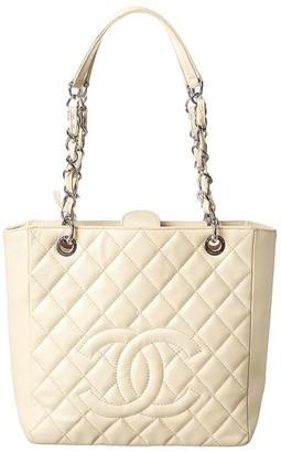 Chanel Cream Caviar Leather Petite Shopping Tote