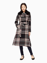 Kate Spade Fur collar chunky plaid coat