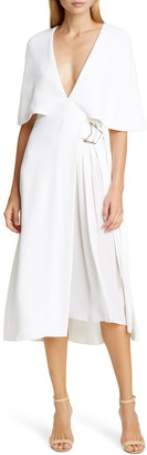 Cushnie Cape Sleeve Pleat Panel Midi Dress